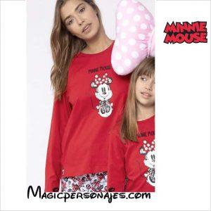 Pijama mujer Minnie manga larga rojo