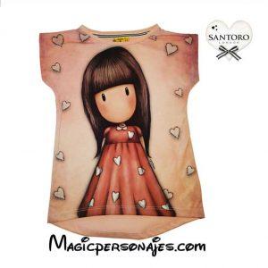 Camiseta niña manga corta Corazones rosa