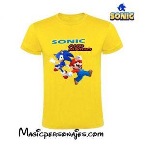 CaCamiseta Sonic & Mario Bros amarilla