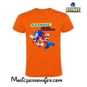 Camiseta Sonic & Mario Bros naranja