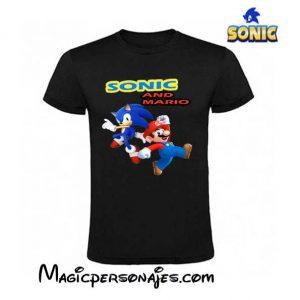 Camiseta Sonic & Mario Bros negra
