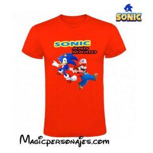 Camiseta Sonic and Mario niño manga corta roja