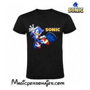 Camiseta Sonic Skate niño manga corta negra