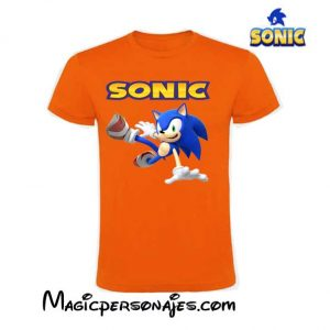 Camiseta Sonic Tumbado niño manga corta naranja