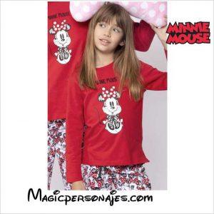 Pijama niña Minnie manga larga rojo